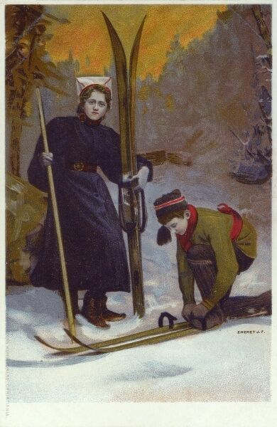 A young boy puts on his pair of cross country skis, whilst his elder sister stands alongside, holding her set of skis. Date: circa 1906