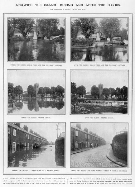 Series of photographs depicting the extent of flooding in before and after in Norwich following heavy levels of rain fall in August 1912