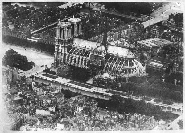 An aerial photograph of Notre Dame cathedral, Paris, France