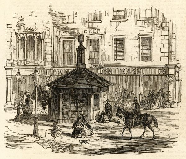 Engraving showing the turnpike toll gate at Notting Hill, London, c.1864. After many years of campaigning by Londoners, many toll gates were removed in the early 1860's