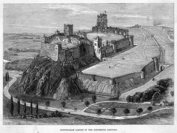 A reconstruction of Nottingham Castle as it appeared during the sixteenth century. The River Trent flows at the foot of the hill which it dominates