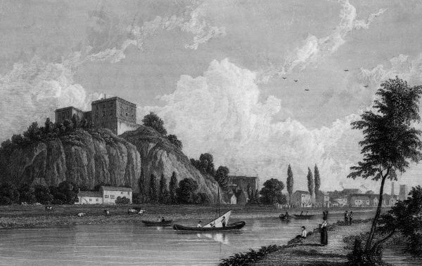 Nottingham Castle, seen from the far bank of the Trent Date: circa 1830