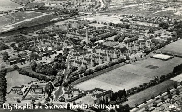 Aerial view of Nottingham City Hospital (upper left of centre) and Sherwood Hospital (left of centre) at Bagthorpe, Nottingham. The two institutions were originally opened in 1903 as, respectively, the Nottingham Union infirmary and workhouse