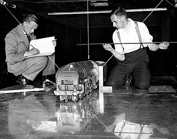 NPL wind tunnel experiments with a model LNER locomotive. Date: 1932