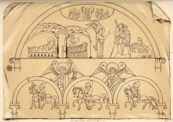 Medieval representation of the announcement of the birth of Jesus to the shepherds and the Magi