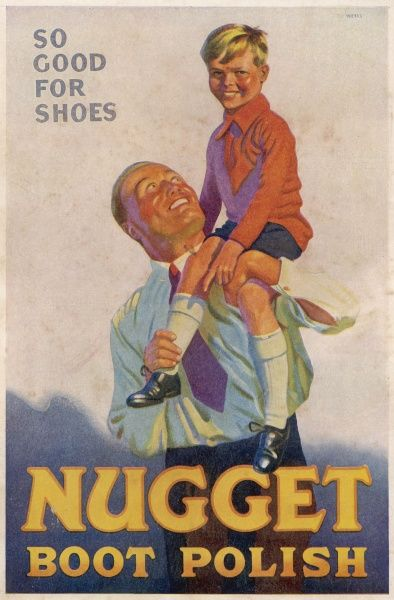 "A father and son, gleaming with happiness and good health suggest that Nugget Boot Polish is ""So Good for Shoes"". Their shoes are shiny too"