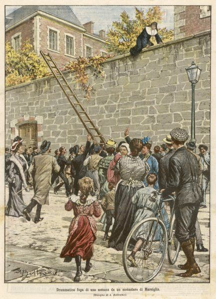 A French girl, incarcerated against her will in a convent at Marseille, makes a dramatic escape by clambering over a wall, where passers-by rush to her aid with a ladder