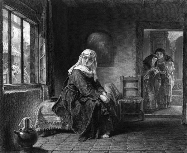 A young nun looks through her window and contemplates life outside the convent walls : did she make the right choice, she asks herself... Date: early 19th century