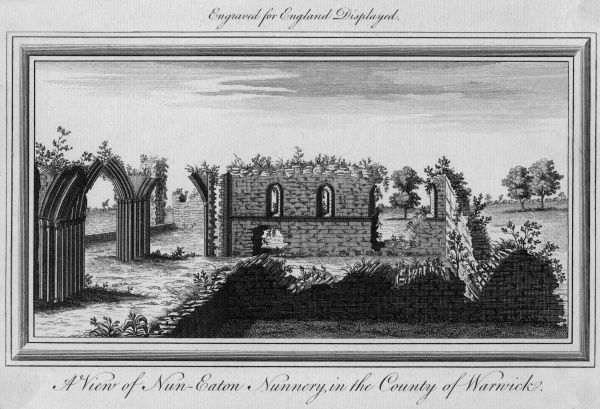 The ruins of Nuneaton Nunnery, Warwickshire Date: circa 1750