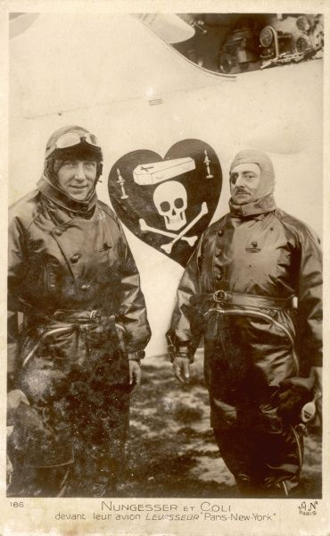 French WW1 air ace Charles Nungesser, with colleague Coli, before their attempt to fly the Atlantic in the 'Oiseau Bleu' : they vanish, either at sea or in Maine