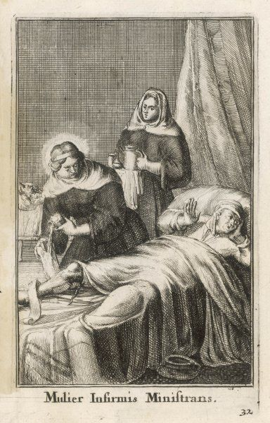 A saintly nun pours soothing ointment / oil onto the bandages of the bed-ridden man who swoons with the pain. Another nun brings in some hot coffee or is it more unctions?