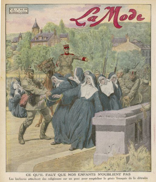 To discourage the French from blowing up a Belgian bridge ahead of the advancing invaders, the Germans have the bright idea of tying a group of nuns to it