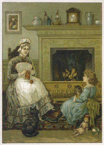 A child with a cat in her arms has laid aside her doll to listen to her nurse who sits sewing by the fire, watched by another cat, as she recalls past days now long gone by