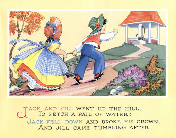 The nursery rhyme, Jack and Jill #14190571 Poster Framed ...