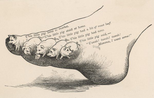 Depiction of the nursery rhyme, This Little Pig -- This little pig went to market, This little pig stayed at home, etc