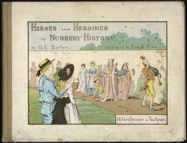 Cover design of an illustrated book of nursery stories, showing a royal procession watched by a delighted brother and sister