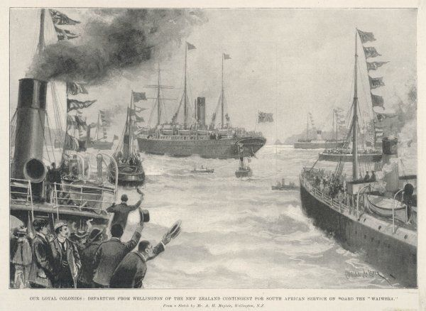 Troops heading for South Africa, leave Wellington, New Zealand