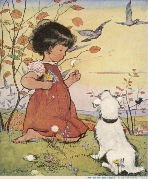 A little girl sits in a field accompanied by her pet dog and blows a dandelion clock