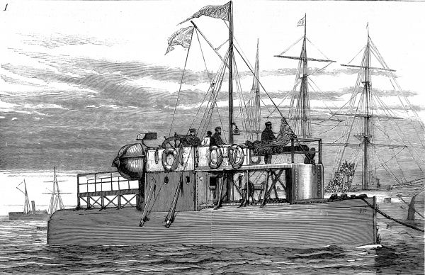 Engraving showing the obelisk ship 'Cleopatra' off Gravesend, Kent, nearing the end of its voyage from Egypt in 1878. The 'Cleopatra' was a cylinder ship built around 'Cleopatra's Needle', an ancient Egyptian obelisk