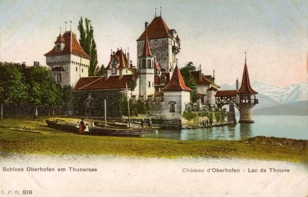 Oberhofen Castle on Lake Thun, Switzerland Date: circa 1905