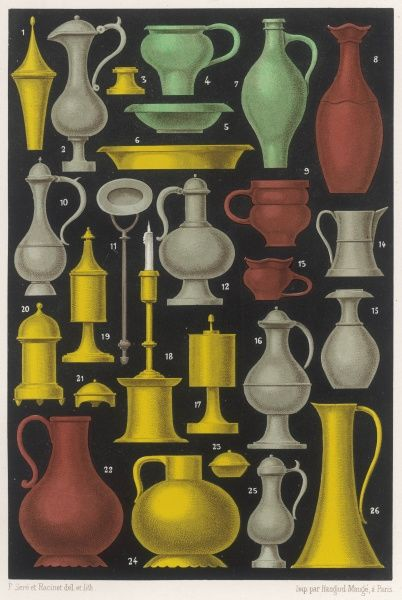 A variety of different medieval vases, jugs, cups, etc