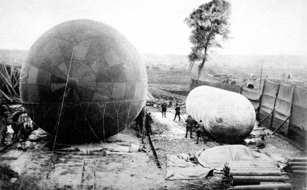 A photograph of an observation balloon being filled from a small 'nurse,' balloon