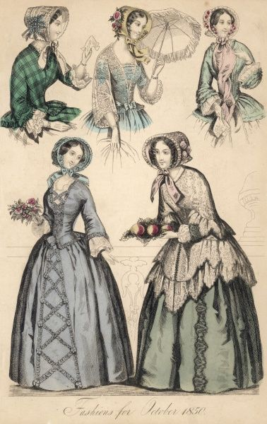 Grey caraco dress with basques & skirt trimmed en tablier; white pardessus worn over a green dress; various jackets with pagoda or funnel sleeves; white lace jacket
