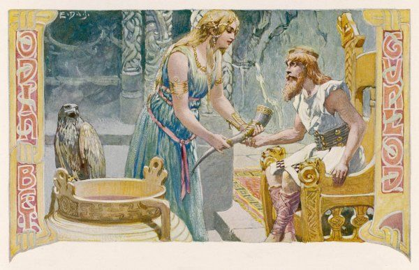 Odin (Wodan) acquires the skills of poetry by seducing Gunnlod, daughter of Suttung, guardian of the mead of poetry