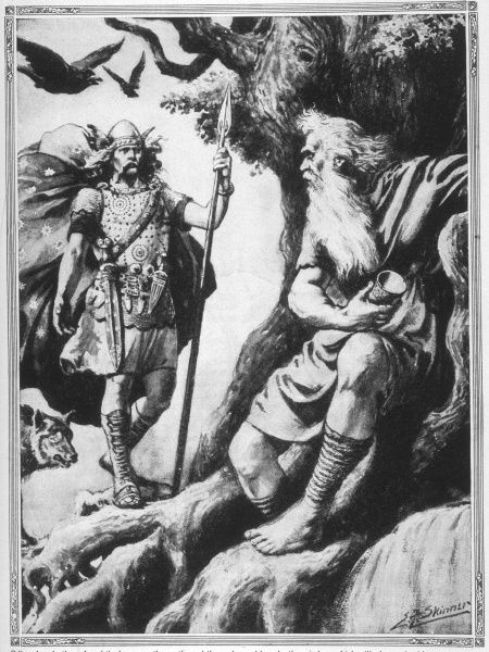 Odin/Wotan seeks the wisdom of the ages from Mimir, an old giant who guards the sacred fountain of knowledge