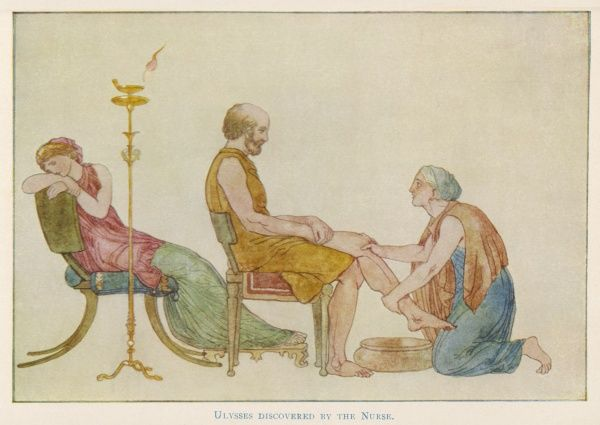 Odysseus, having returned from his travels, but disguised into an old man to fool his wife Penelope's Suitors, is recognised by old nurse Eurycleia, who washes his feet