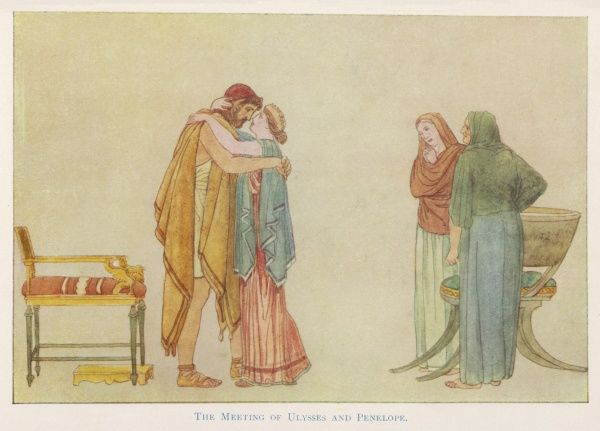 Having killed the Suitors, the hero Odysseus (Ulysses) embraces his faithful wife, Penelope, while two adoring maids watch them