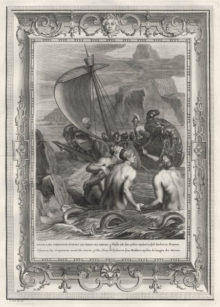 Odysseus and his companions avoid the charms of the Sirens