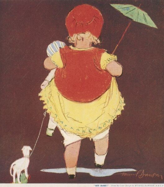 Charming depiction of a back view of a little girl who steps over a puddle on her way home, as gracefully as she can considering the fact she is carrying a doll, an umbrella and pulling a toy lamb behind her