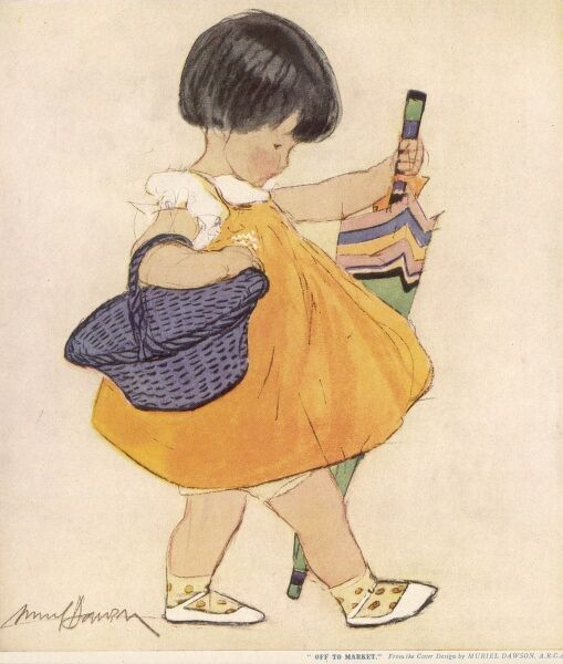 A sweet little girl in an orange dress, carries a brightly striped umbrella and a blue basket on her way to market