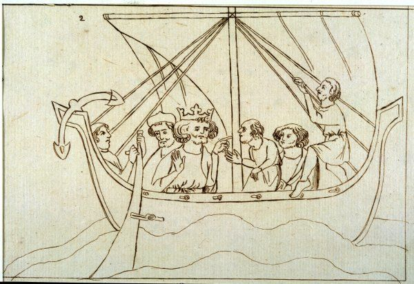 Offa crosses the sea to Rome in a small sailing craft