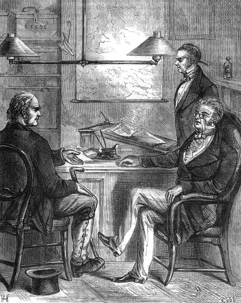 'Nay, sir, that sounds to me like swindling' - three Victorian men discuss a business proposition Date: circa 1870