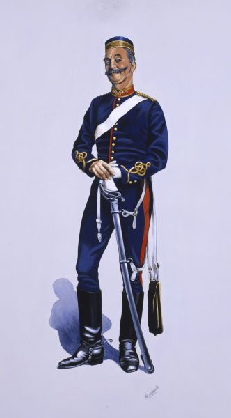 Officer of Royal Regiment of Artillery (1879) in undress uniform with sword and undress sabretache. Painting by Malcolm Greensmith