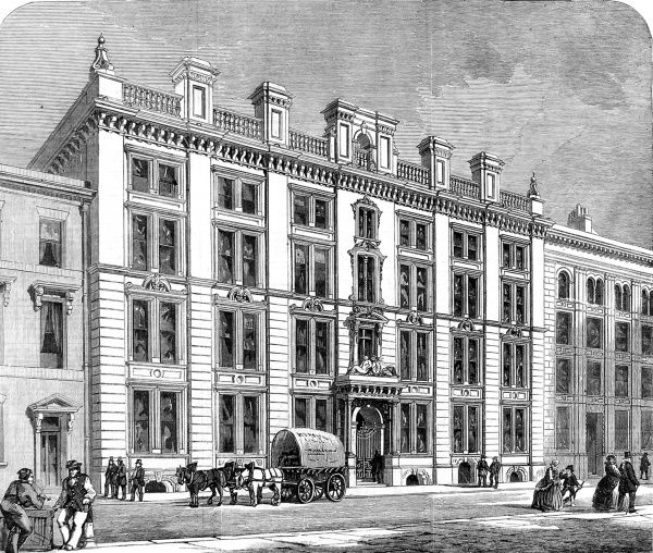 Engraving showing the exterior of a fine set of offices and sales-rooms in Mincing Lane, City of London, 1860