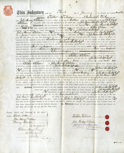 Official wording of an Apprenticeship Indenture, between John Henry Watson of 3 Newland Street, Derby, and Messrs John Davis & Son (Derby) Limited. The document is signed by John Henry Watson himself (then about 17 years old), his father Walter Watson