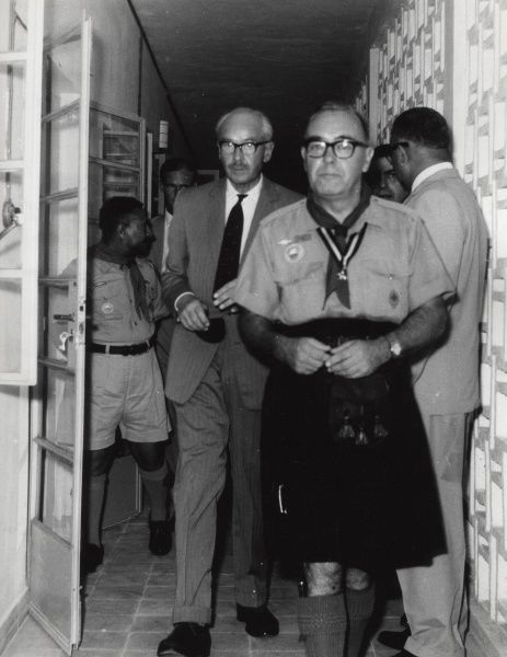 Sir Richard Turnbull, G.C.M.G., Chief Scout of Aden, led by the Chief Commissioner, Mr J.J. Greene O.B.E. inspecting the new Headquarters of the South Arabian Boy Scouts Association. circa 1966