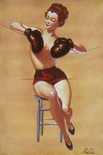 Pin up girl by Merlin Enabnit (1903-1979) wearing boxing gloves posed strategically across her chest. Enabnit was born in Des Moines, Iowa and was a successful commercial artist. He produced 24 pin up illustrations for The Sketch during the 1940s