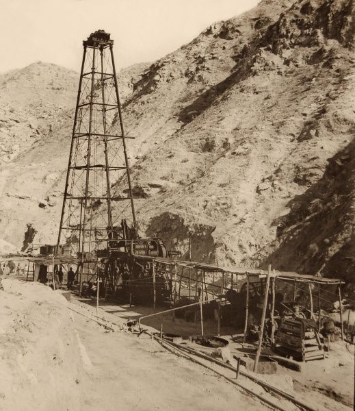 Oil Well at Chillingar, Iran. One of Iran's largest oil fields, Chilingar was named after George V. Chilingar, one of the best-known petroleum geologists in the world. The former name for the site (at the time of this photograph) is sadly unknown