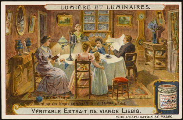 By the middle of the 19th century, oil lamps are the standard form of illumination in middle-class homes