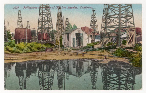 Reflections in the lake of oil, Los Angeles, California
