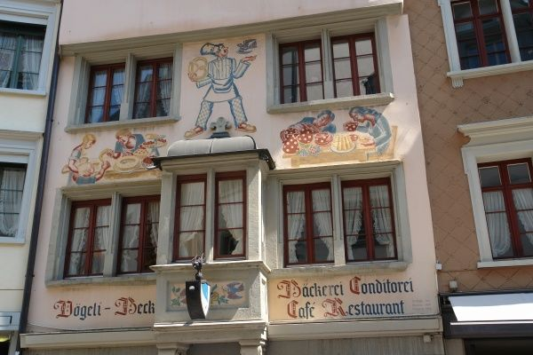 View of the decorated exterior of an old bakery in the Spiesergasse (Spisergasse), St Gallen, Switzerland