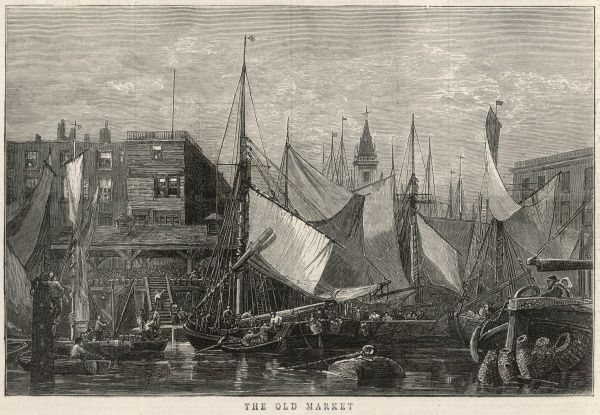 Engraving showing the exterior of the Old Billingsgate Fish Market in London, viewed from the River Thames, c.1875. In the foreground of this image one can see the sailing fishing boats, alongside the market, bringing their catch ashore