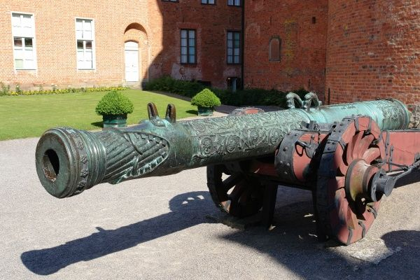 An old cannon on display in the grounds of Gripsholm Castle, Mariefred, Sodermanland, Sweden