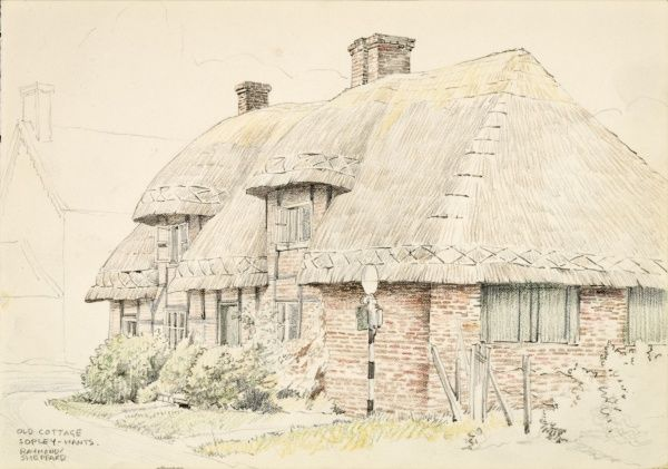 An old thatched cottage at Sopley, Hampshire. Watercolour painting by Raymond Sheppard