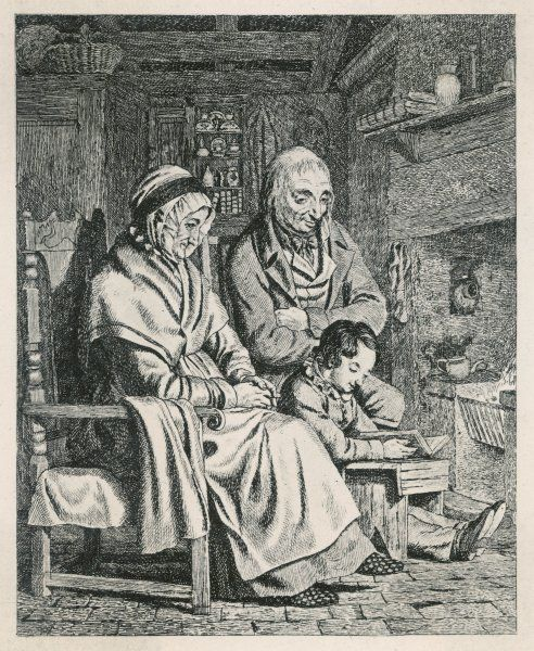 An elderly couple listen attentively to the readings of an industrious young boy