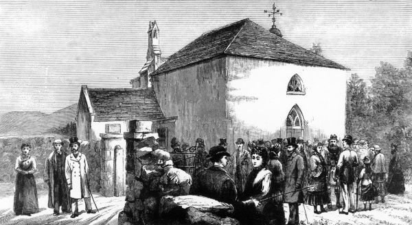 Worshippers outside old Crathie Kirk in the Scottish village of Crathie, known as the place of worship of the British Royal Family when they are at nearby Balmoral. The old church was built in 1804, the current structure in 1895 in the Gothic Revival style